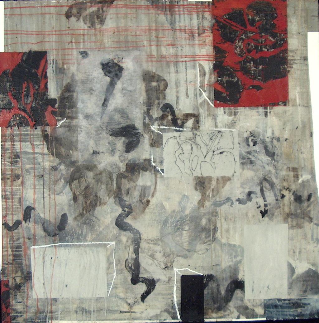 ESCENAS I T. Mixta / Tela sobre Madera, 97 x 97 cm.