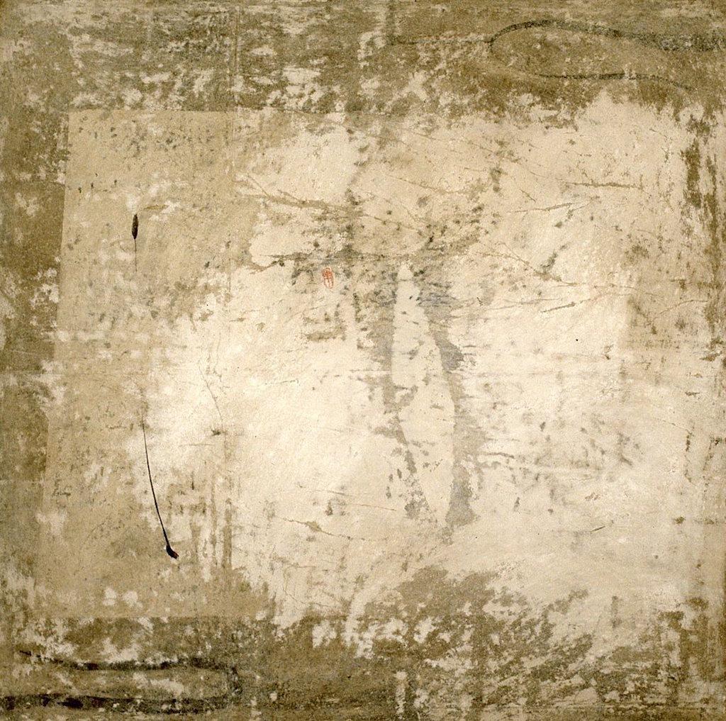 HOJA BLANCA  T. Mixta / Tela y papel sobre madera, 100 x 100 cms.