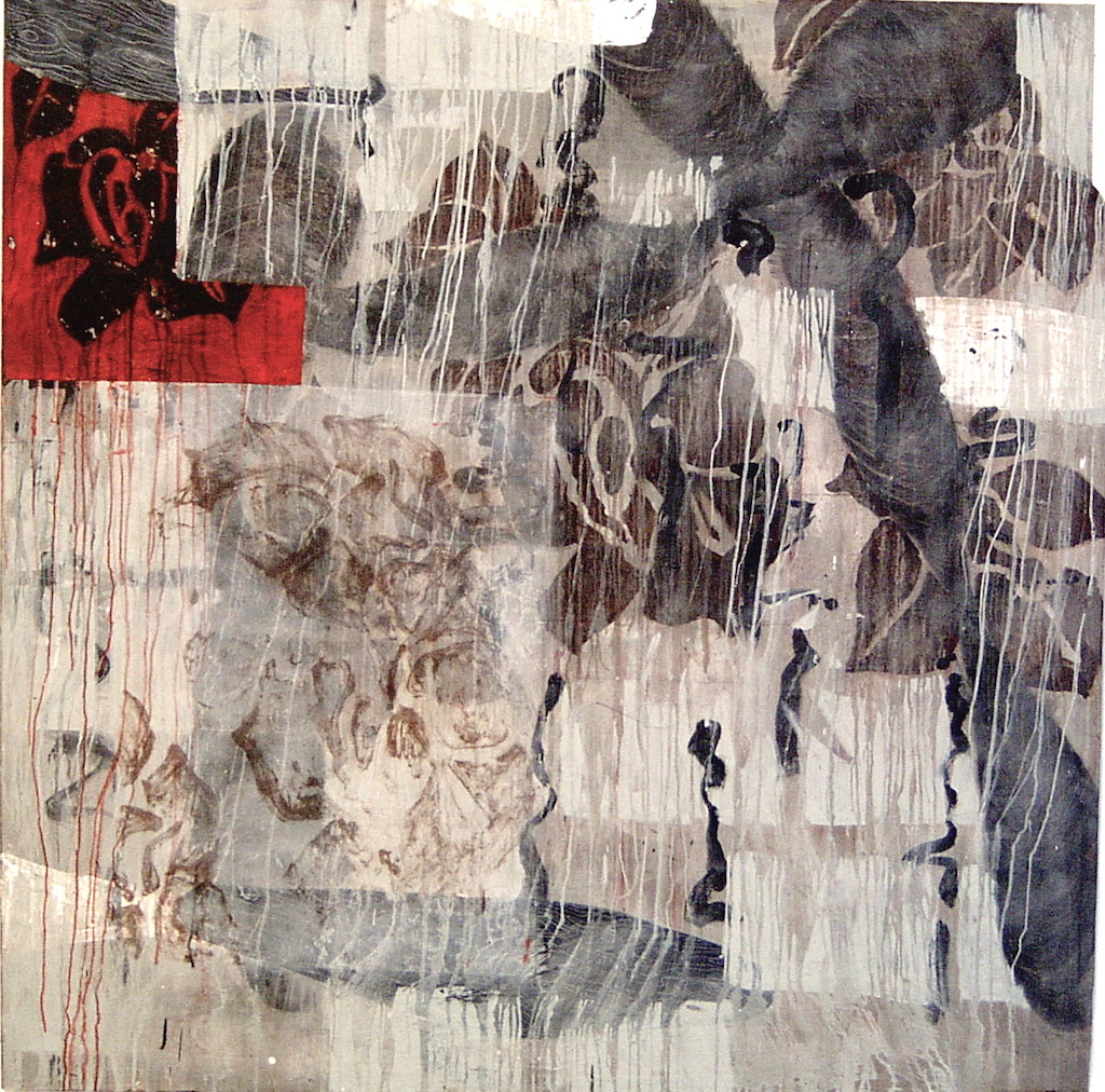 HOJAS T. Mixta / Tela sobre madera, 162 x 162 cms.