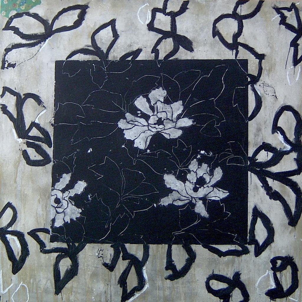 PAREJA I T. Mixta / Tela sobre madera. 130 x 130 cms.
