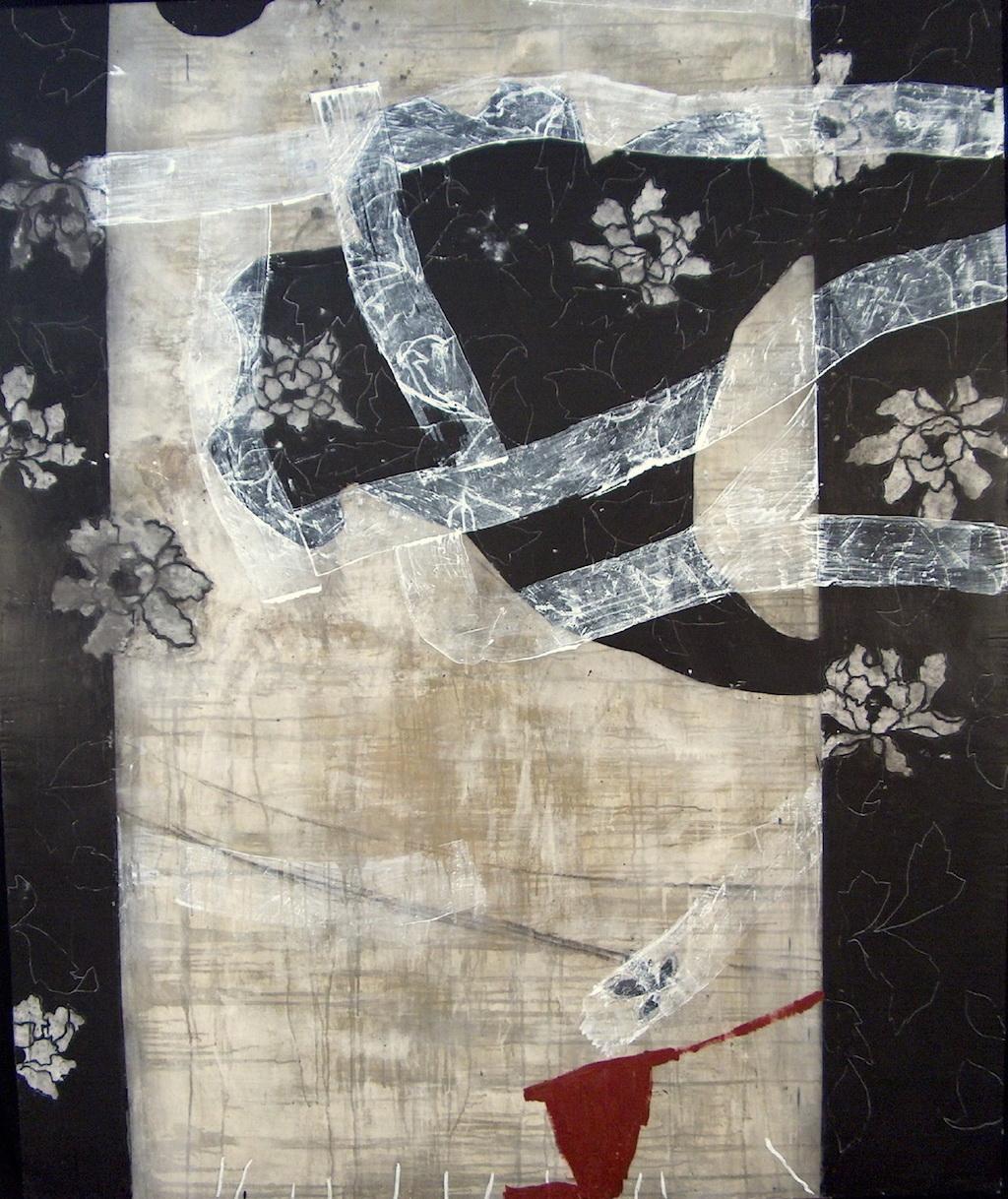 PERFUME NEGRO II T. Mixta / Tela sobre Madera, 195 x 162 cm.