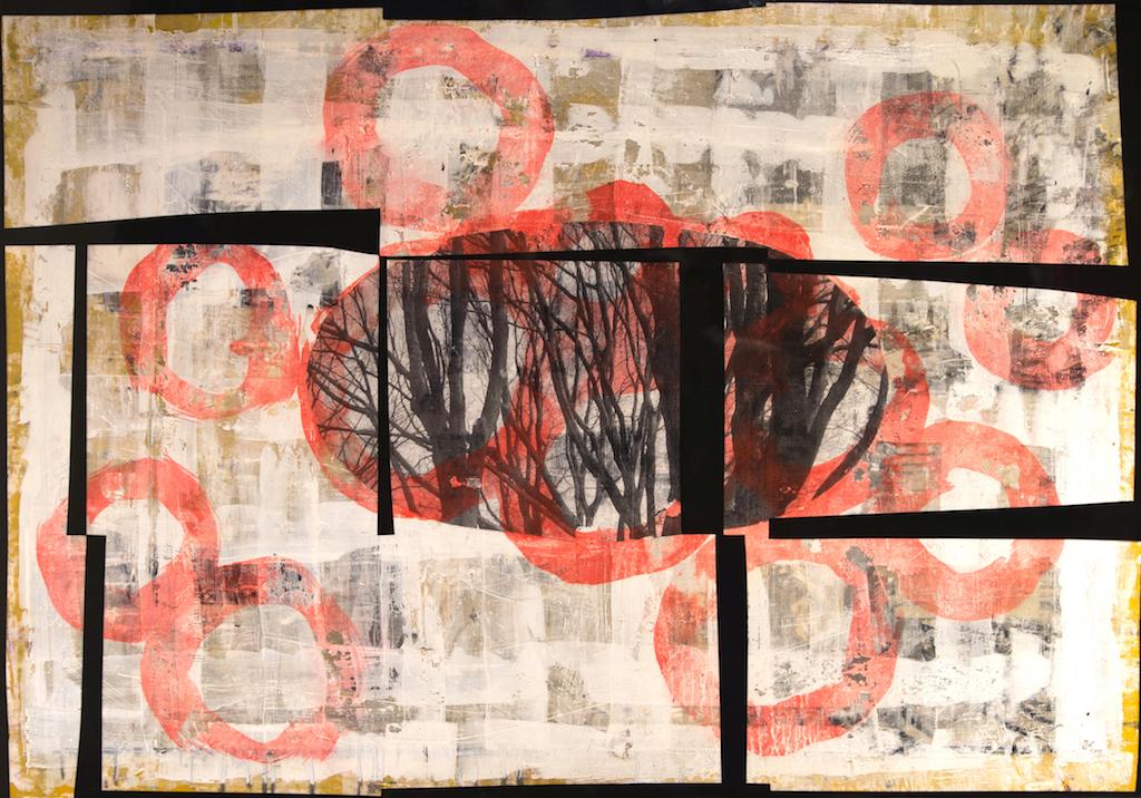 ESTRUCTURA Y VENTANA HACIA EL BOSQUE . T. Mixta / Tela sobre madera y vidrio. 81 X 116 cms