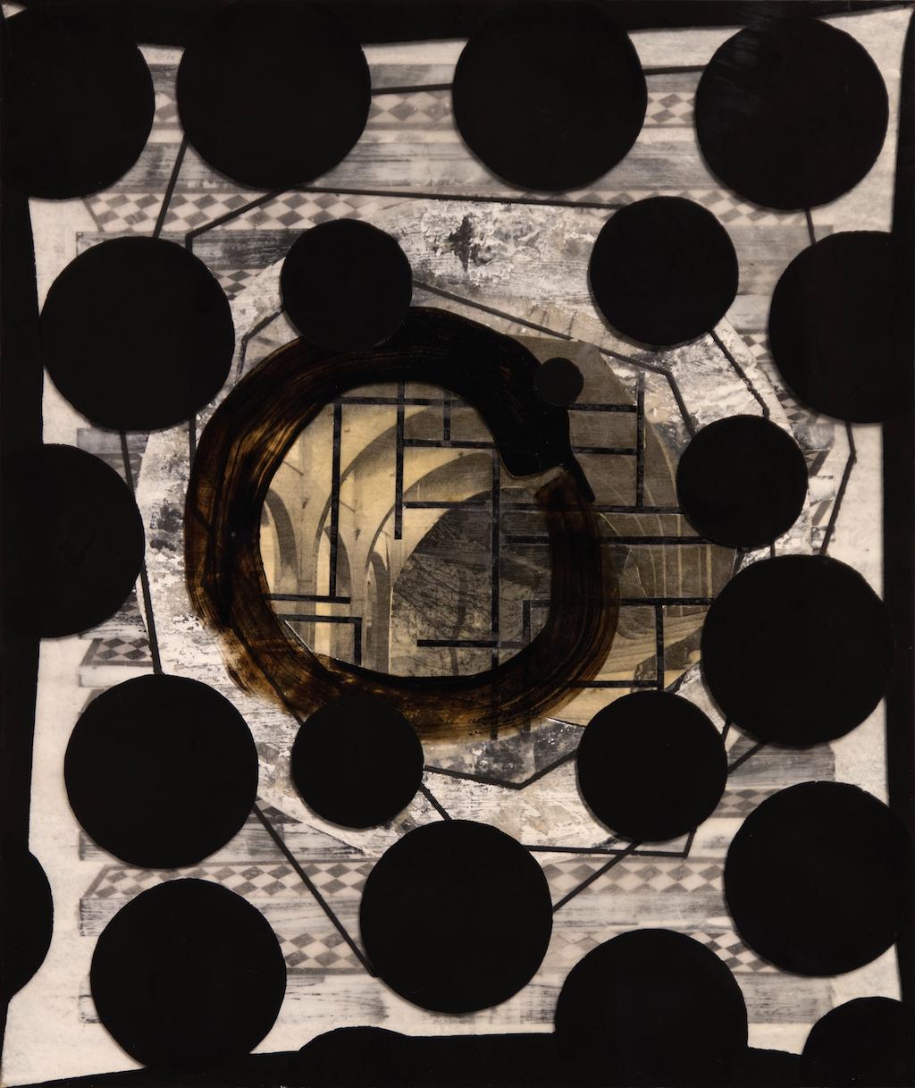 PUNTOS CIEGOS. T. Mixta / Tela sobre madera y vidrio. 55 X 46cms