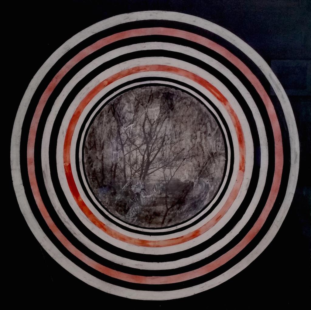 ALREDEDOR DE LA NOCHE  T. Mixta / Tela sobre madera 100 x 100 cms.