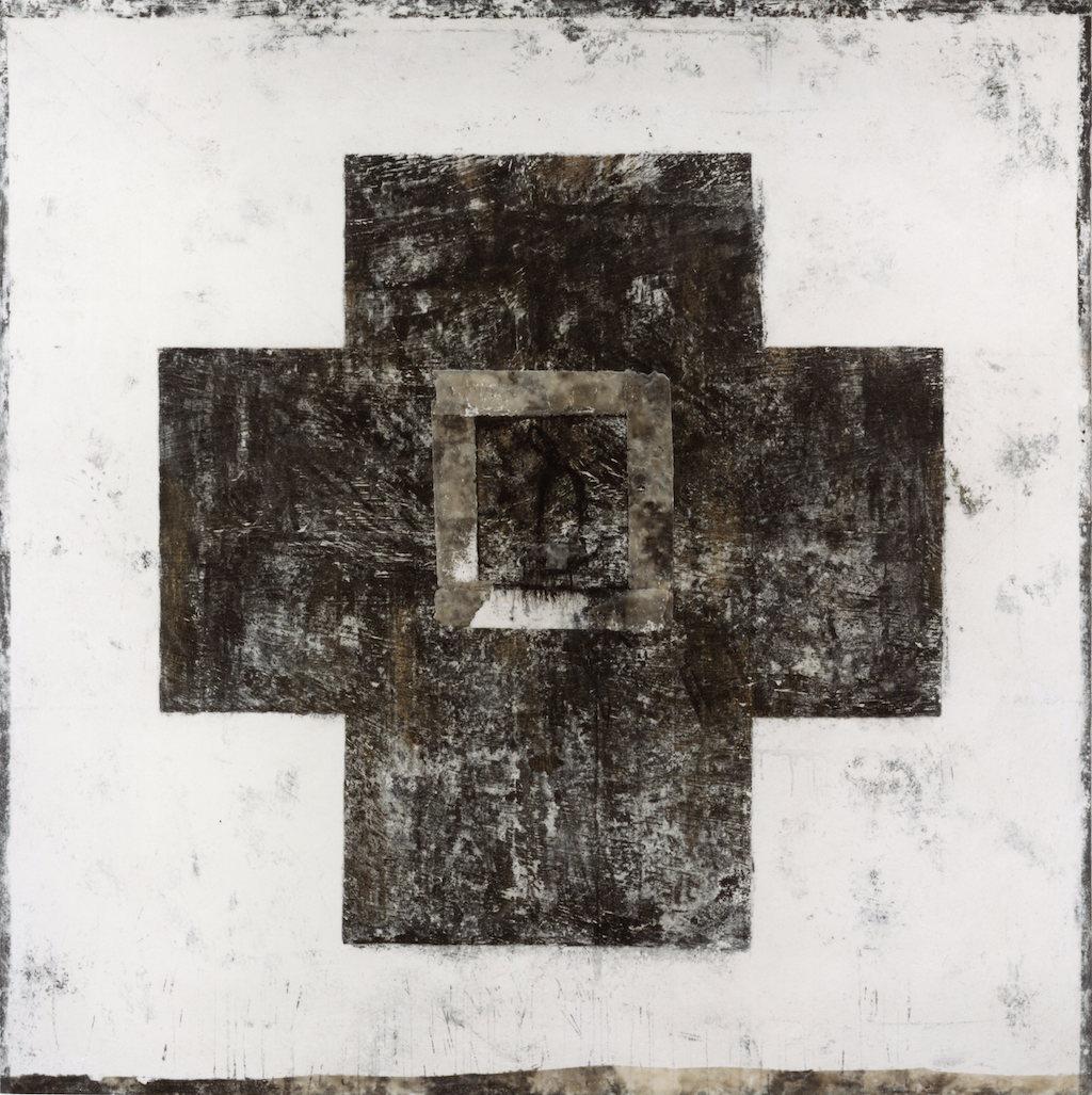 CRUZ SOBRE BLANCO T. mixta / Tela sobre madera, 162 x 162 cms.