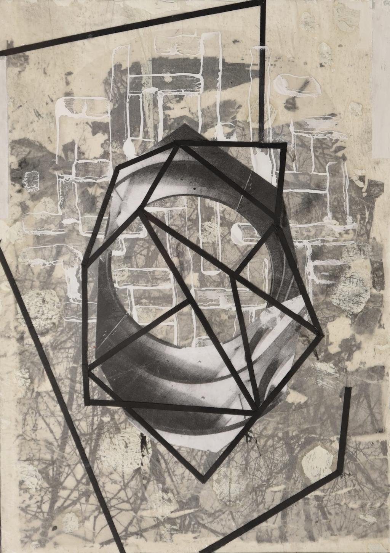 GEOMETRÍA Y NATURALEZA \nT. Mixta /Papel y cristal. 35 x 25 cm.