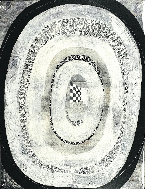HABITACIÓN Y DAMERO T. Mixta / Tela sobre madera. 116 x 89 cms.