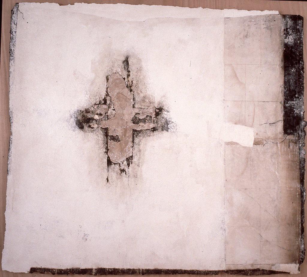 HUELLA T. Mixta / Papel sobre Madera. 157 x 167 cms.