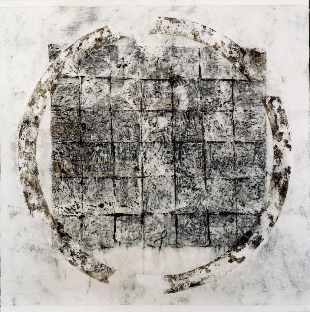 RUEDO CERRADO T. Mixta / Tela sobre Madera. 160 x 160 cms.