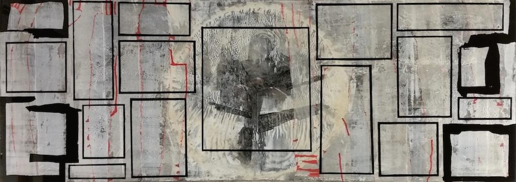 LA GRAN VENTANA. T. Mixta /Tela y vidrio. 49 x 141 cms